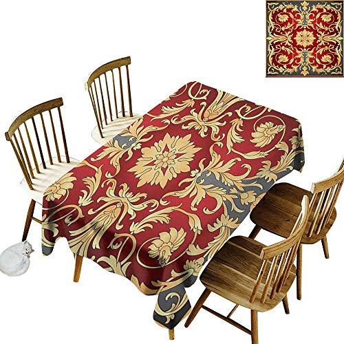 (kangkaishi Iron-Free Anti-fouling Holiday Long Tablecloth Table decorationOttoman Spiral Foliage Pattern Frame Filigree Style Royal and Retro W60 x L126 Inch Ruby Mustard Black )