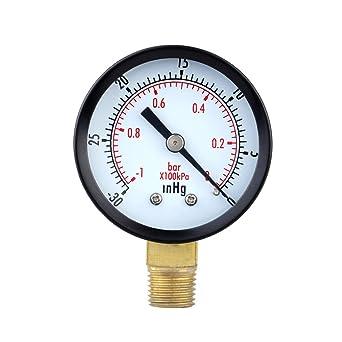 UEETEK Manómetro de Presión Vacuometro para Compresor de Aaire Gas Aceite Agua 0-30HG