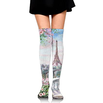 39526a421 Eiffel Tower Rose Women Funny Knee High Compression Socks Sports Running  Socks