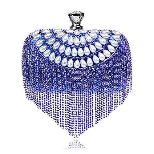 Banquet Hand Hangbag Bag Evening Bag Fringe Blue Evening Lady GROSSARTIG Dress YFCOUqxF
