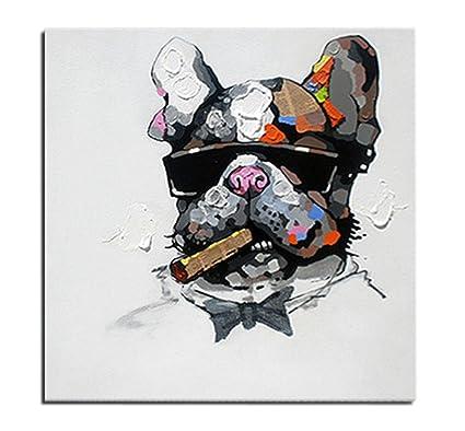 Très bien Tableau Chien Bulldog Anglais Churchill Peinture à l'Huile sur &GM_45