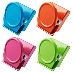 4Pcs Magnetic Metal Clip, Magnets Clips, Refrigerator Magnets, Whiteboard Wall Magnetic Memo Note Clips