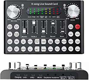 ALPOWL Mini Sound Mixer Board, Portable Audio Mixer for karaoke, Live Sound Card With Dual DSP Noise Reduction Chip, Audio DJ Mixer for Music Recording, Live on Cell Phone Computer Laptop Tablet