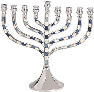 Premium Quality Menorah for Hanukkah - Blue and White Enamel Insets.