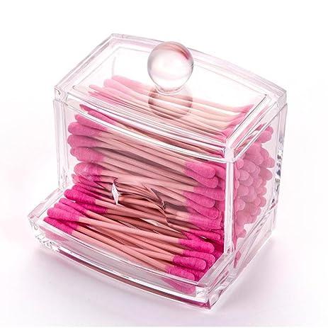 Creative Clear Acrylic Q Tip Storage Holder Box Transparent Cotton Swabs  Stick Cosmetic Makeup Organizer