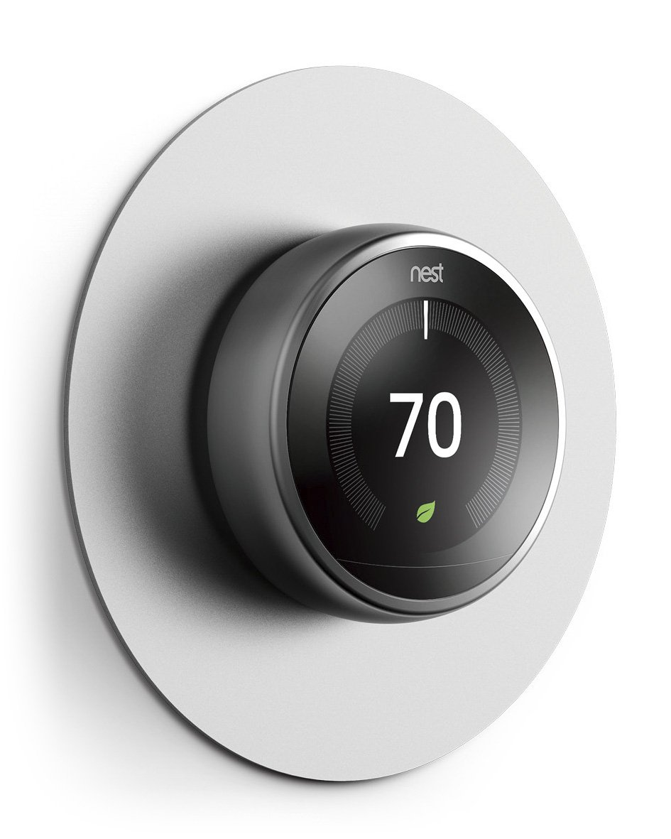 elago Wall Plate Cover for Nest Learning Thermostat [Silver] - [Fingerprint Resistant Coating][Durable Aluminum][Easy Installation] - for 1st, 2nd, 3rd generation, and Nest Thermostat E by elago
