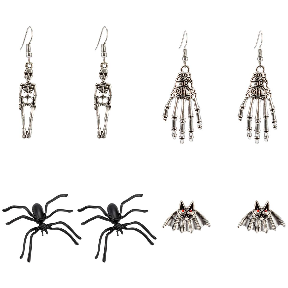 MEWTOGO 4 Packs Halloween Drop Earrings Including Spiders+Human Skeleton +Skeleton Hands+Bats Dangle Earring Set for Women and Girls Costume