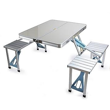 mesa plegable YXX Madera Cuadrada y sillas con Mango y ...