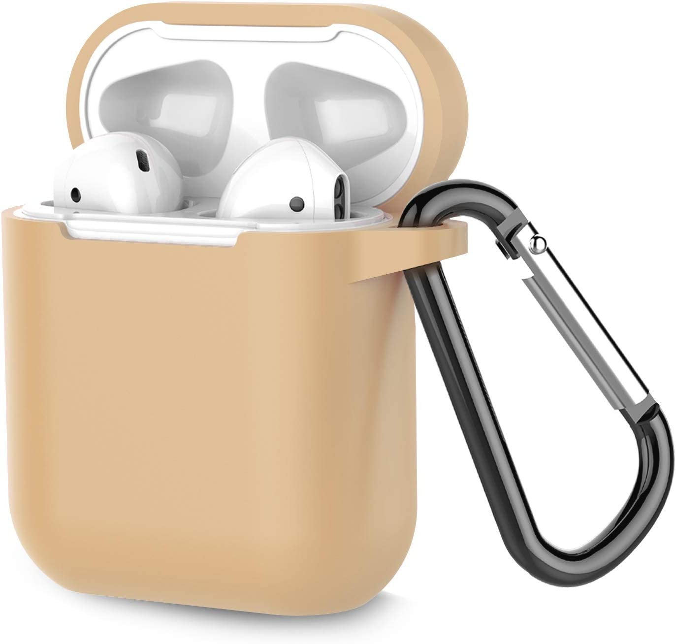 Coffea Protective Silicone Case with Keychain for Apple AirPods 1 & 2 (Front LED Not Visible) (Khaki)