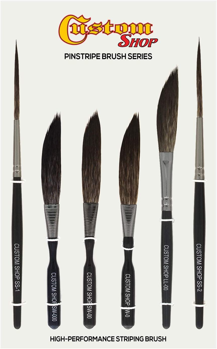 Amazon Com Custom Shop Pinstriping Brush Master Set Sword 0 00 000 Scroll 1 2 Long Liner 00 The Complete Set Of Every Brush Style And Size High Performance Striping Brushes Automotive