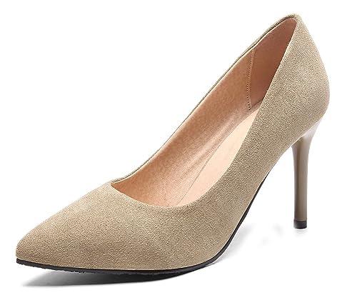 726bc1942be5f Aisun Femme Simple Stiletto Chaussures Pour Mariage Escarpins Abricot 32