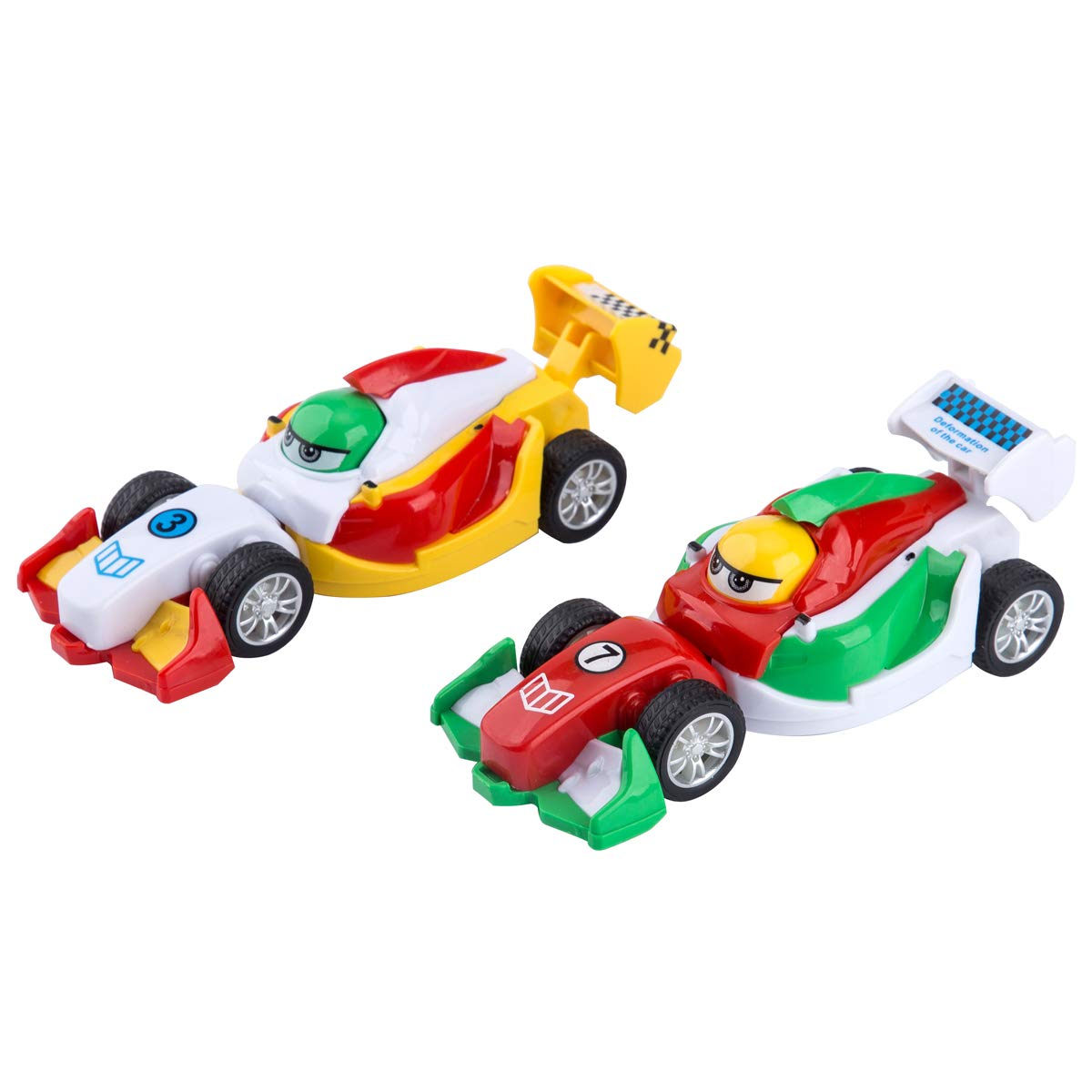 UDS Egg Race Car Pocket Car for Kids Foldable Inertia Car for Boys and Girls 2 Pack