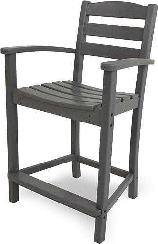 POLYWOOD TD201GY La Casa Caf Counter Arm Chair, Slate Grey