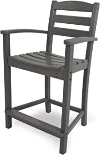 product image for POLYWOOD TD201GY La Casa Café Counter Arm Chair, Slate Grey