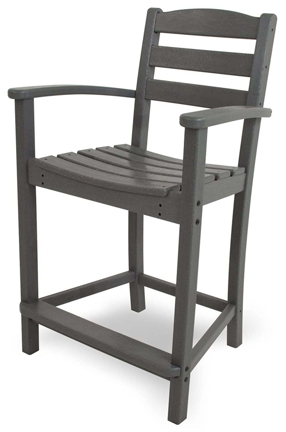 POLYWOOD TD201GY La Casa Caf Counter Arm Chair, Slate Grey