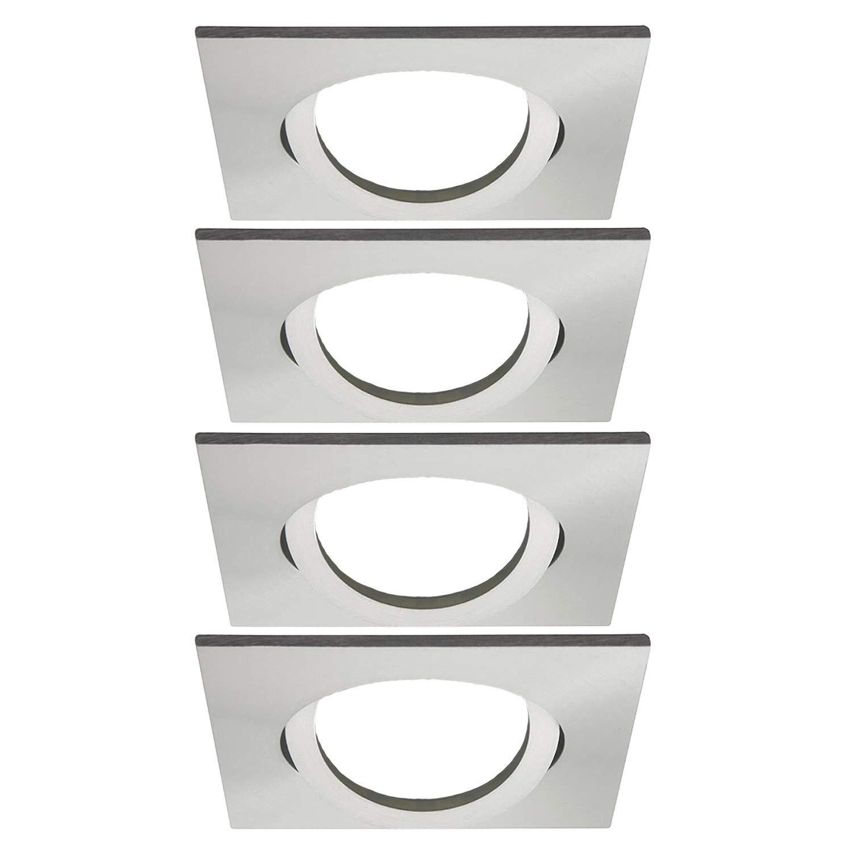 Einbaustrahler Schwenkbar VERA Quadratisch (Aluminium-gebürstet) Inkl. 10 X IP20 Deckenstrahler Einbauleuchte Deckeneinbaustrahler Deckeneinbauleuchte Deckenspot, 10X Fassung GU10 - ohne Leuchtmittel JVS