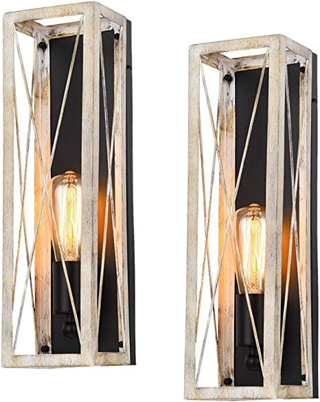Rustic Vintage Bronze Wall Sconce Light Fixtures Set of 2,Oil Rubbed Bronze//Antique Brass Finish,Industrial Fixture Suitable for Bedroom Living Room Hallway,E26 Base,Bulb Included