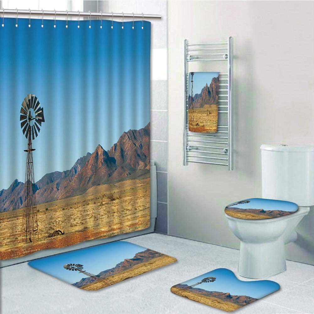 Amazon Com Bathroom Fashion 5 Piece Set Shower Curtain 3d Print Windmill Decor Flinders Ranges South Australia Mountains Barren Land Summer Decorative Earth Yellow Light Blue Bath Mat Bathroom Carpet Rug Non Sli Home Kitchen