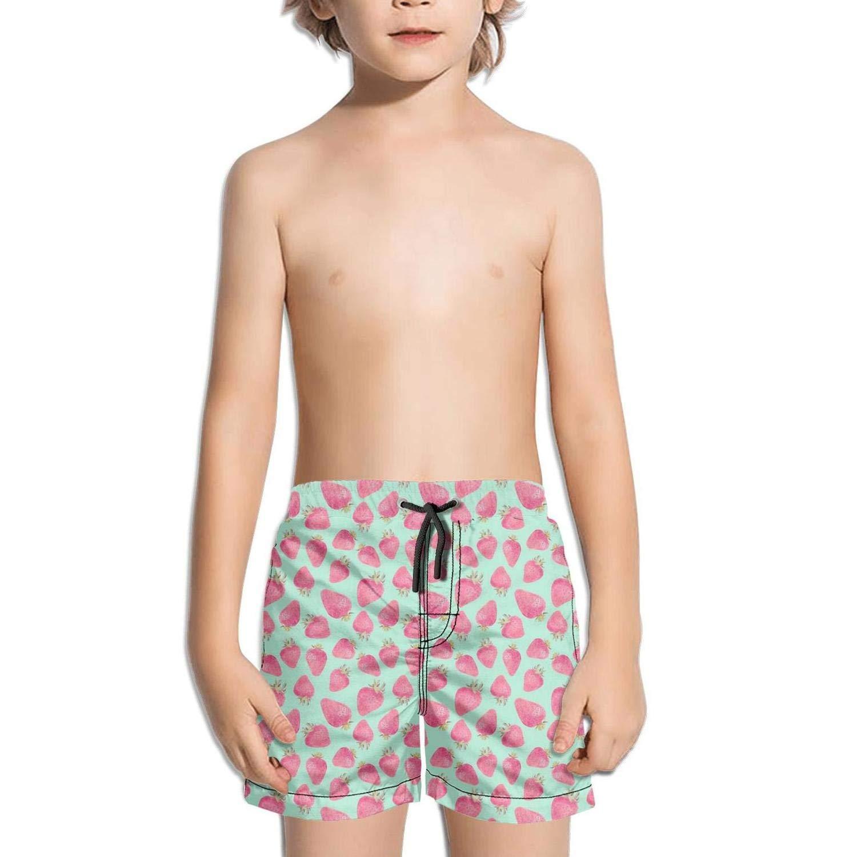 LKIMNJ Boys Swim Trunks Strawberry and Cherry Fruit White Quick Dry Breathable Beach Board Shorts