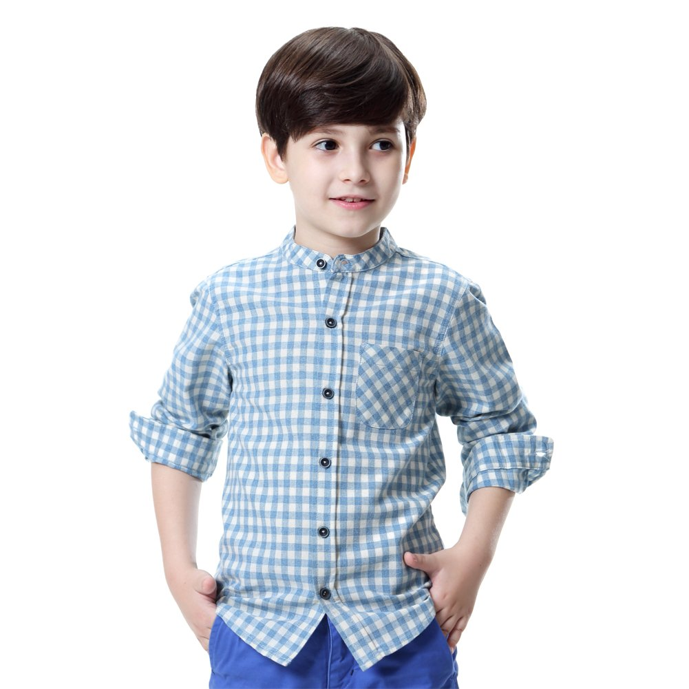 KID1234 Boys' Long-Sleeve Plaid Shirt Cotton Crew-Neck Dress Shirt