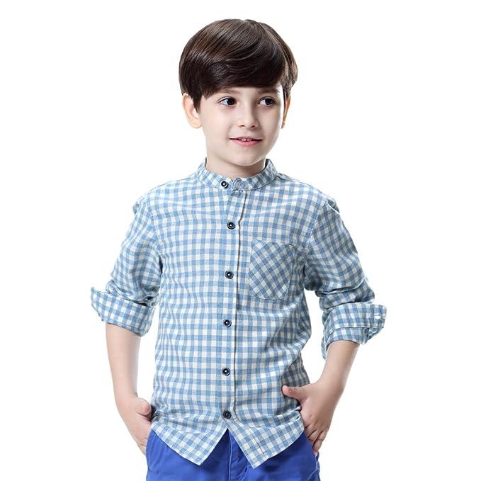 6197fc61b039 Boys' Button Down Shirt Long Sleeve Plaid Cotton Crew-Neck Dress Kids  Clothes