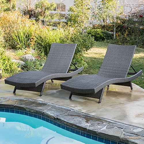 (Set of 2) Olivia Outdoor Grey Wicker Chaise Lounge Chairs by Great Deal Furniture