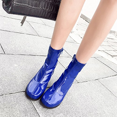 Heel Patent Women Model Boots Elements Martin Fashion Leather Shooting Candy Sandals Ankle Blue Thick Catwalk Color Boots Street FwXqpw