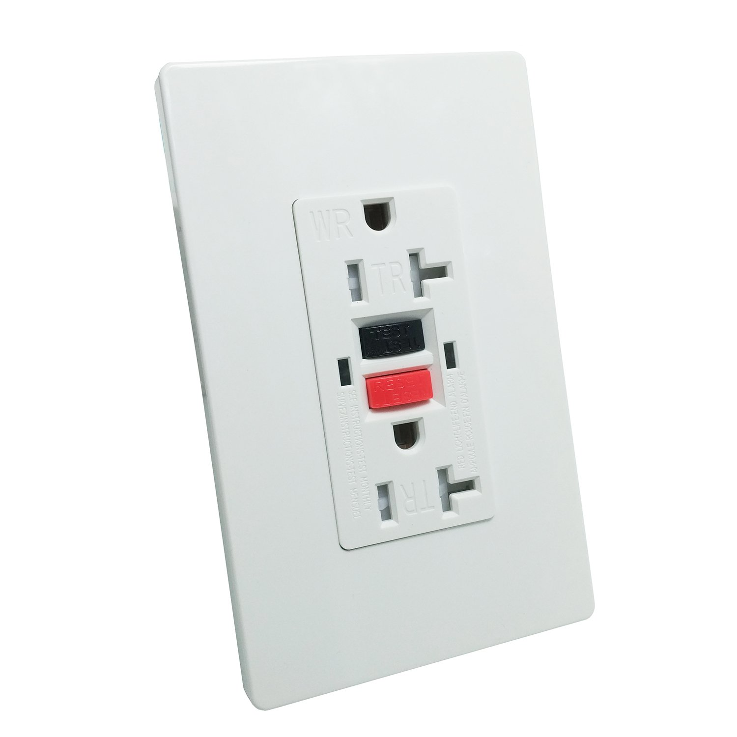 GFCI 20A TR Wall Outlet - LASOCKETS 20A 125V TR & Weather Resistant & Automatically Tests Standard Wall Outlet,Commercial Grade, White Wall Socket (Color Button) with 2 free Wall Plates, UL Listed