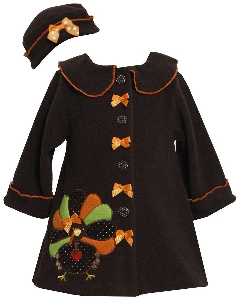 Bonnie Jean Girls Turkey Thanksgiving Fall Winter Coat Hat Set, Brown, 0-3M