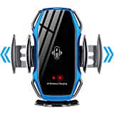 KimTok Car Mobile Holders Mount [Ac Vent] Infrared Sensor Automatic Switch Car Phone Stand with Wireless Charger(Blue)