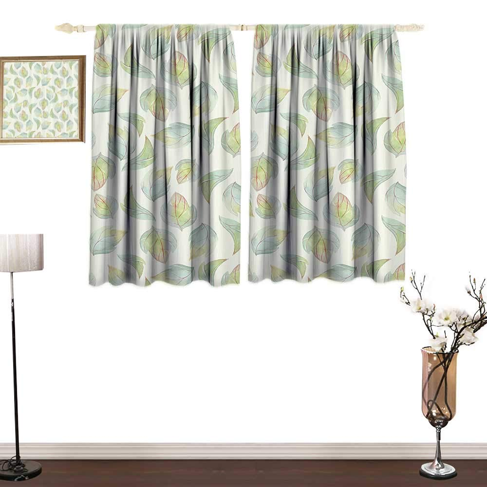 Jinguizi NaturePrinted curtainAbstract Fall Autumn Time Inspired Flower Leaves Veins Artwork ImageEnvironmental Protection W55 xL39 Seafoam Pale Green Cream