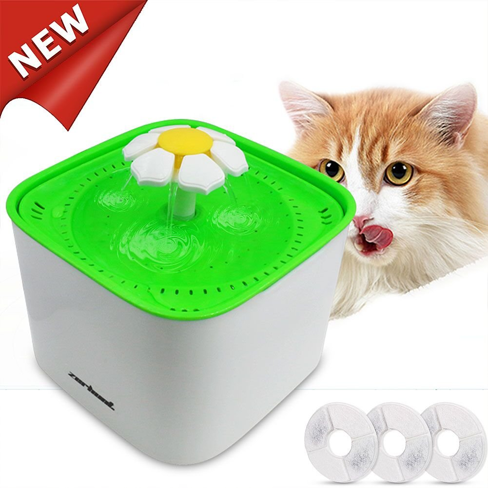 Zerhunt Pet Fountain Cat Water Fountain, 2L Automatic Water Cat Flower Fountain Drinking Water Dispenser Hygienic 3 Working Modes Super Quiet Dog with 3PCS Replacement Filters for Cats Dogs