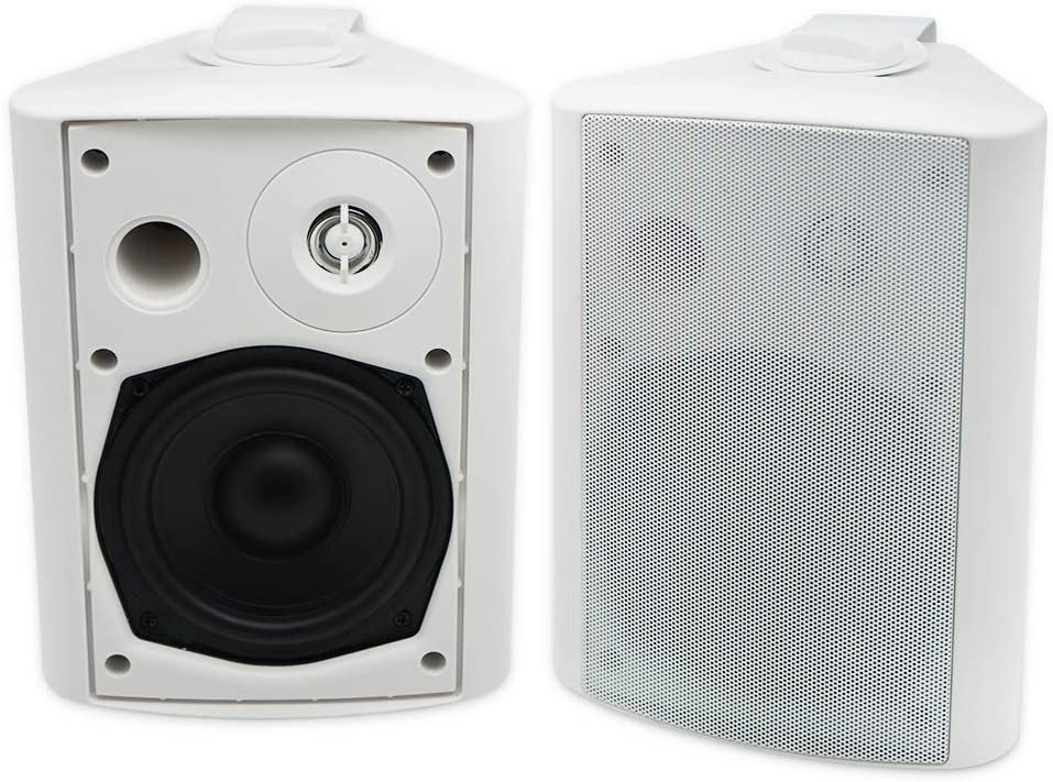 Herdio 5.25 Inches 200 Watts Indoor Outdoor Patio Bluetooth Speakers with Superior Stereo Dome Tweeter All Weather Wired Wall Mount System(White)