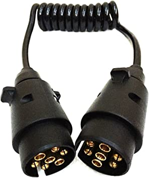 2m Trailer Board Light Extension Lead Cable Male To Female 7 Pin Connector 1.7m Cable Length