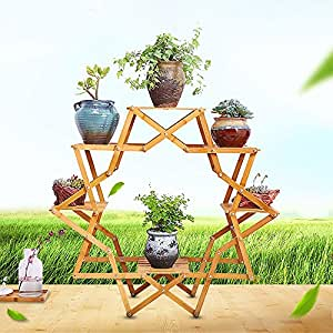 Flower shelf, creative wood flower balcony balcony living room interior flower pots European-style wood floor multilayer decorative racks