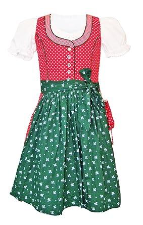 0ad963dff6a765 Lekra Kinder Dirndl Nele - 3-tlg. Rot Grün - Mädchen Kleid mit Bluse und  Schürze Gr. 80-116: Amazon.de: Bekleidung