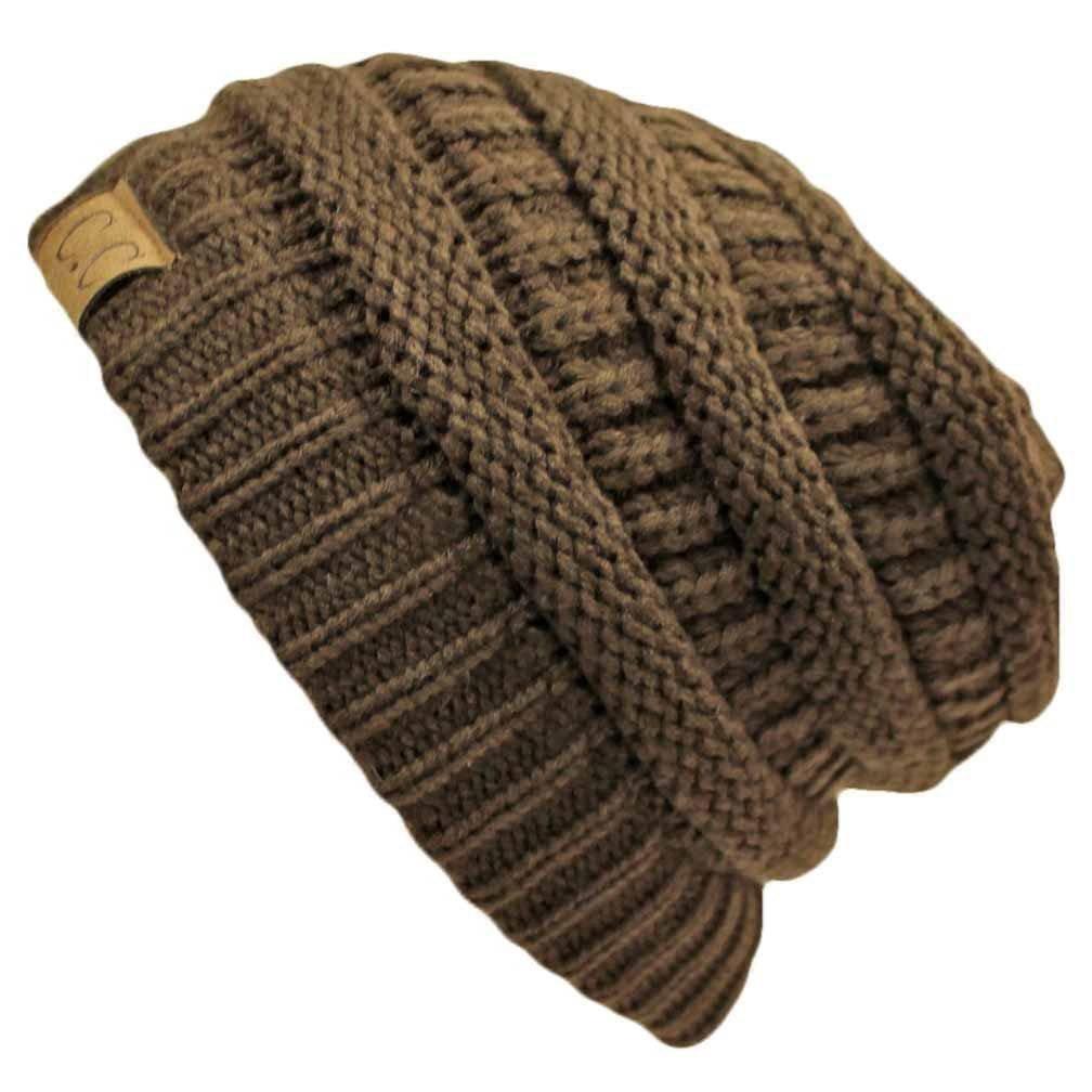 C.C Women's Thick Soft Knit Beanie Cap Hat One Size Beige 5HART3003-BEIGE4