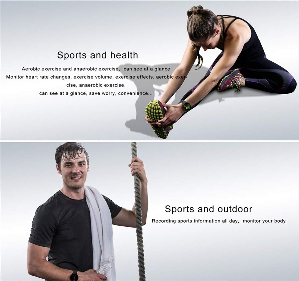 Reloj inteligente con rastreador de ejercicios Rastreador de actividad con monitor de ritmo cardíaco Pulsera impermeable con contador de pasos, ...