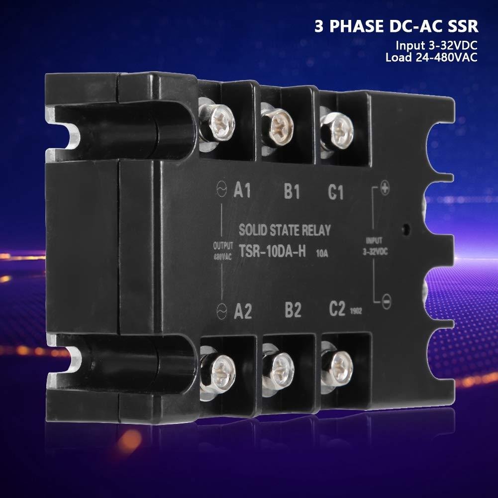 Relais statiques triphas/és Relais statiques triphas/és 10A CC-CA Entr/ée SSR 3-32VDC Charge 24-480VAC TSR-10DA-H Anti-humidit/é anti-corrosion