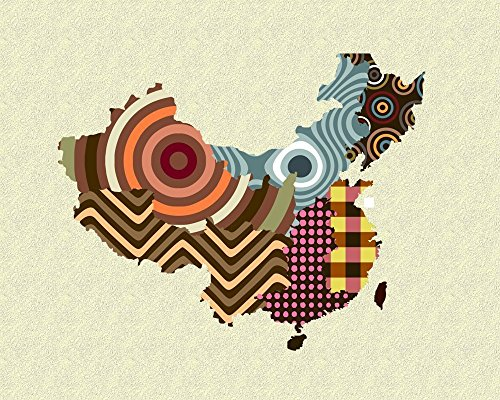 China Map Art Wall Decor Cubism Geometric Print-8