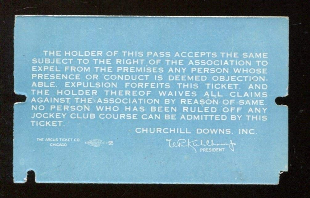1962 Kentucky Derby Churchill Downs Press Pass Ticket Card 43788