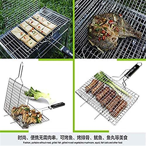 Mingstong-Barbecue en Acier Inoxydable Rack Outdoor Camping Grill Rack Grilled Roast Folder Basket Tools Meat Fish Vegetable BBQ Tool (32 x 22cm)
