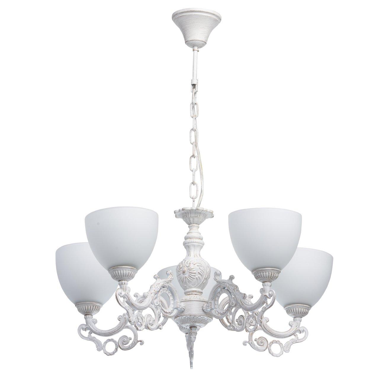MW-Light 450016605 Kronleuchter Weiß 5 Flammig Shabby Chic Klassisch Wohnzimmer