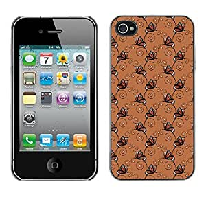 PatternViking PC Polycarbonate Aluminium Back Case Cover Apple iPhone 4 / 4S ( dark butterfly )