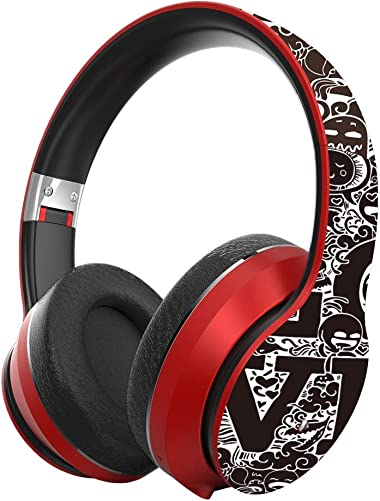 ZKUROZOXY B1 Headphones Bluetooth Headphones with Microphone Over Ear Deep Bass Wireless Headphones, Comfortable Protein Earpads, w Built-in Mic Wired Mode PC Cell Phones TV Red