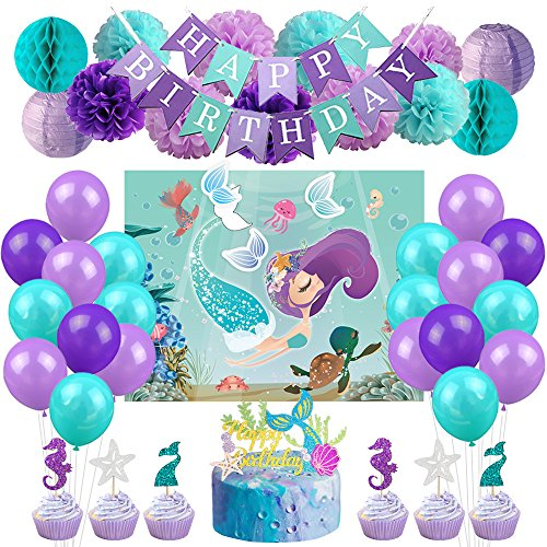 Under The Sea Birthday Supplies (Mermaid Party Decorations Kit Under The Sea Party Supplies for Girls Birthday Party Baby Shower)