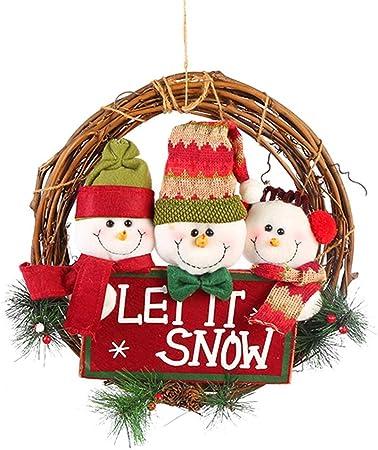 Décoration de Noël sur Porte Guirlande Crochet Père ou Design en Bonhomme Neige
