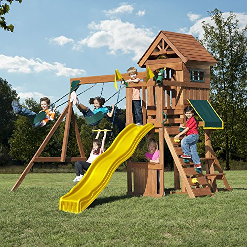 - Swing-N-Slide WS 8328 Jamboree Fort Play Set with Two Swings, Slide, Picnic Table, Telescope & Climbing Wall, Green