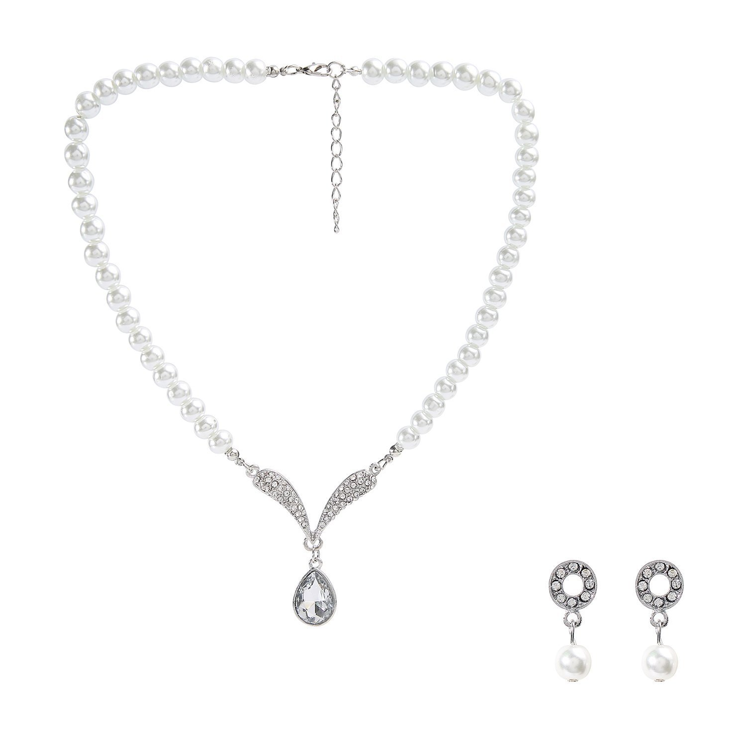 Metme 1920s Gatsby Accessories Set Pearls Crystal Pendant Necklace Rhinestone Earrings