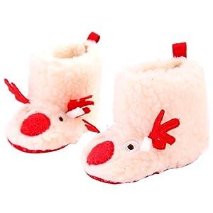 Fheaven Christmas Baby Unisex Toddler Infant Snow Boots Soft Sole Prewalker Crib Cotton Shoes (US:3, Beige)